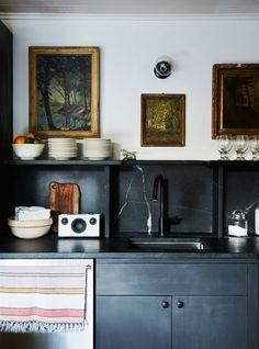 best of: dark and dramatic. | sfgirlbybay Kitchen Paint, Kitchen Backsplash, Kitchen Decor, Kitchen Ideas, Eclectic Kitchen, Kitchen Trends, Room Kitchen, Kitchen Interior, Bright Kitchens