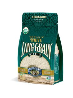 Lundberg Organic Long-Grain White Rice - recommended by Cooks Illustrated as Rice Packaging, Organic Packaging, Food Packaging Design, Beauty Packaging, Cool Packaging, Packaging Design Inspiration, Incense Packaging, Packaging Boxes, Product Packaging
