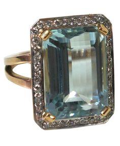 Mid Century aquamarine and diamond ring.