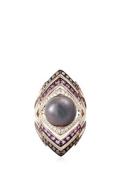 White Gold Tahitian Pearl Ring by Stephen Webster - Spring-Summer 2015 (=)