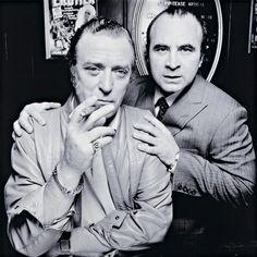 Michael Caine And Bob Hoskins - Raymond Revuebar, London, 1985. Photo by Terry O'Neill.