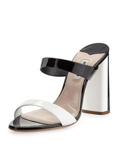 Bicolor Patent Slide Sandal, Nero/Bianco by Miu Miu at Bergdorf Goodman.