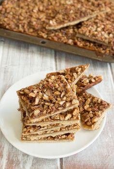 Vegan Maple Pecan Pie Bars. Ingredients: flour, salt, oil, almond milk, pecans, maple syrup