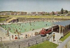 the old Kings Beach swimming pools and small smartie-train - also gone now replaced with a parking lot and lawned area - Port Elizabeth Old King, Us Swimming, Port Elizabeth, South Africa, Paris Skyline, The Past, Train, History, City