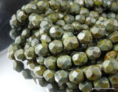 Czech Glass Bead Sage Green Picasso 6mm by mountainshadowdesign, $1.95