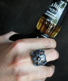 Morphine Ferry Ring with Black Diamonds