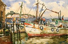 C. Curry Bohm (1894-1971) The Blue Bay of Biloxi  Watercolor on Paper 14 x 20 inches Signed Lower Left