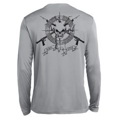 skull and spearguns spearfishing performance shirt is designed with comfort and style in mind. Our spearfishing shirts are super soft, but durable for the spearo lifestyle. Here at Born of Water spearfishing apparel we stand behind our products and guarantee the quality of our skull and spearguns performance spearfishing shirt.