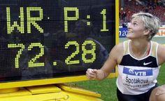 Javelin Throw Barbora Špotáková world record | Czech Republic's Barbora Spotakova celebrates her world record during ... Stuttgart 2008-09-03.