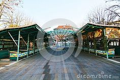 Fish market and Christmas decorations during winter holidays, in Treviso city, in Veneto, Italy. The place is full of decorative arabesques. Treviso Italy, Famous Fish, Holiday City, Winter Holidays, Medieval, Fair Grounds, Stock Photos, Architecture, Places