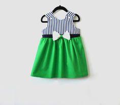 Nautical Green Girl Dress  Toddler Dress Summer by LoopsyBaby
