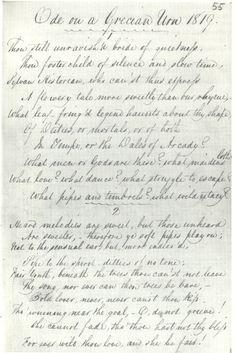 First known copy of John Keats' Ode on a Grecian Urn, circa 1820    #keats