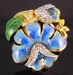 Minusone Brooch Pins-Enameled Red Or Blue Lotus Flower Brooch Pins
