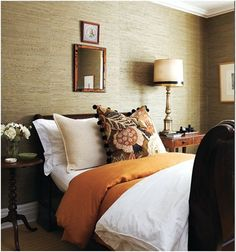 tommy smythe love the grasscloth walls! and that mix of fall orange/browns gives such warmth to the room