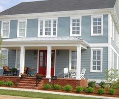 Color Schemes For Houses paint color ideas for colonial revival houses | blue shutters