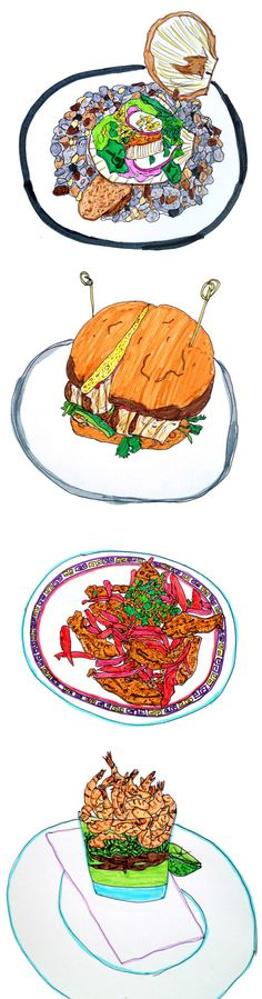 Food illustrations by Anon from 'Good Food Crap Drawing'
