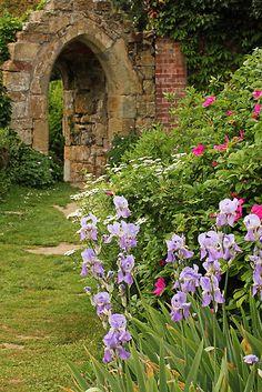 Ruins of a Gothic doorway in the garden at Scotney Castle, near Tunbridge Wells - Kent, UK  National Trust property