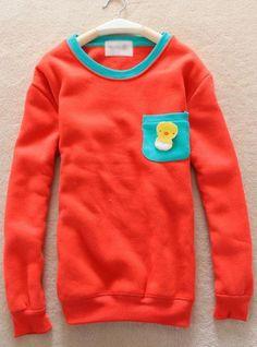 Red Pocket Round Neck Sweatshirt$39.00