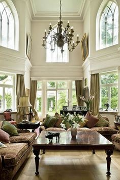 Beautiful two story living room interior design ideas and home decor ~ light and bright .just stunning Beautiful Living Rooms, Beautiful Interiors, Home Living Room, Living Spaces, Living Area, Sweet Home, Home Fashion, Great Rooms, My Dream Home