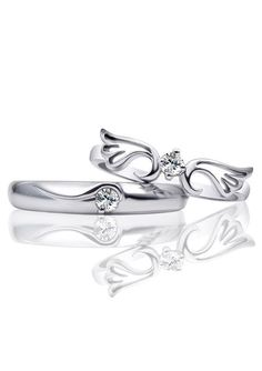 Angel Wing & Crown Matching Couple Promise Rings Set in Sterling Silver, Cheap Cubic Zirconia Wedding Rings for Boyfriend and Girlfriend, Beautiful His and Hers Jewelry