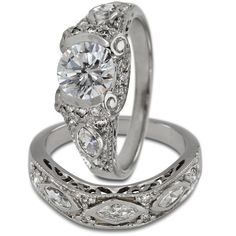 Antique Engagement Setting With Marquise Diamond Accents -  This two ring engagement set will hold up to 1.25ct round (OR 6.75mm maximum ) center diamond.   These are set with marquise and round shape diamonds. Antique style wedding bands are popular and in demand. The engagement rings have filigree, open scrollwork and delicate lines. These rings are made with a heavy gold weight which insures years of carefree wear. The characteristics of such rings are milgrain, engraving and ...