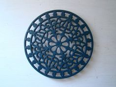 vintage french cast iron trivet round painted blue by joellecutro, €25.00