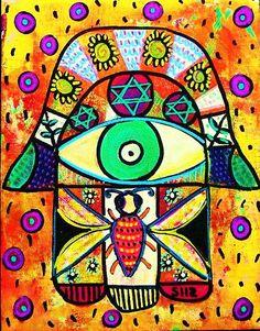 Honey Bee  Vintage Tapestry Judaica Hamsa  by SandraSilberzweigArt,