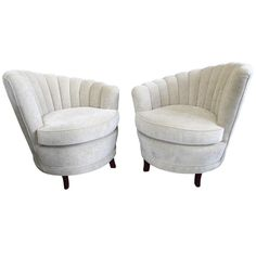 Pair 1940s Asymmetrical Art Deco Shell Channel Back Chairs | From a unique collection of antique and modern lounge chairs at http://www.1stdibs.com/furniture/seating/lounge-chairs/