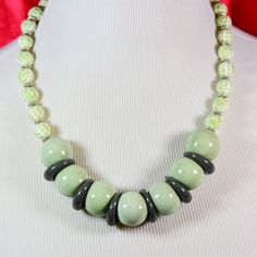 Chunky Green, White and Gray Necklace
