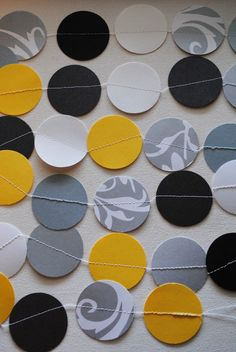 Modern color palette garland in yellow, grey, black, and white