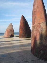 A striking abstract piece on Geelong's waterfront.