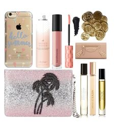 """""""Inside the clutch bag, pink bag/ clutch, going out bag, party essentials"""" by bluebunny255 ❤ liked on Polyvore featuring beauty, Matthew Williamson, Byredo, Prada, Agent 18, Drybar, Balenciaga, Bare Escentuals and Benefit"""