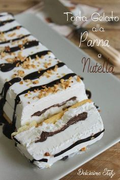 Italian Food ~ ~ Cake Ice Cream and Nutella Cheesecake Desserts, Frozen Desserts, Nutella Recipes, Chocolate Recipes, Homemade Sorbet, Gelato Homemade, Mousse, Gelato Recipe, Gelato Flavors