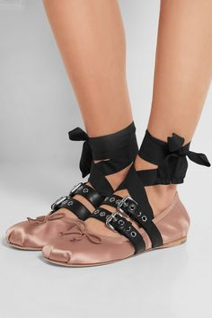 Miu Miu buckled leather and satin ballet flats
