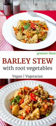 This vegetarian barley with roasted root vegetables stew is almost like a chunky vegetable stew. It's great for a side dish, or a meatless meal in itself. #vegan #vegetarianrecipes #meatlessmeal