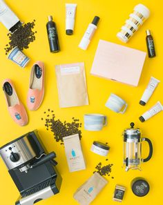 FOR THE GIRL WHO LOVES COFFEE: 204. Panama Esmeralda 1500 Gesha, ALLEGRO COFFEE (Available at Whole Foods Market), $15; 205. New York Coffee Cup, MOMA STORE, $15; 206. Coffee-Infused Skin Care Body Collection, JAVA, $82; 207. Coffee-Based Skin Care Top to Toe Bundle, FRANK BODY, $90; 208. Gold Stripe Thermal Mug, KATE SPADE NEW YORK, $18; 209. Coffee Slip-Ons, SOLUDOS, $75