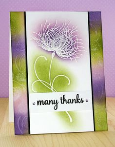 handmade thank you card ... purple, olive, white ... two techniques with one…