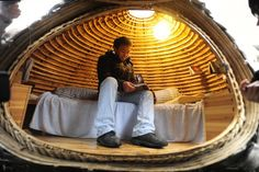 HIGH RENTS IN BEIJING, CHINA INSPIRE CHINESE ARCHITECT DAI HAIFEI TO BUILD GREEN SIDEWALK EGG SLEEPING POD - PBT Consulting