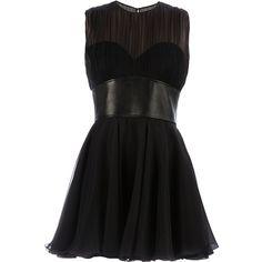 SAINT LAURENT bustier dress ($5,220) ❤ liked on Polyvore featuring dresses, vestidos, short dresses, robe, a line mini dress, mini dress, black leather belt, flare mini dress and black a line dress