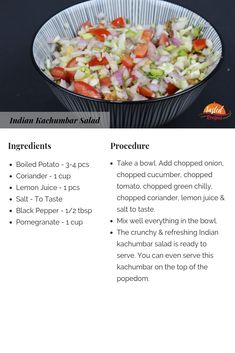 Indian Kachumber salad is a tangy mixture made of some amazing veggies like onion, tomato & coriander salad tossed with Indian spices. Seafood Recipes, Vegetarian Recipes, Healthy Recipes, Salad Recipes, Bengali Fish Recipes, Indian Food Recipes, Indian Food Culture, Indian Salads, Tiffin Recipe