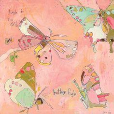 Ciel papillon haute toile imprimer par Jennifer Mercede 21 X 21