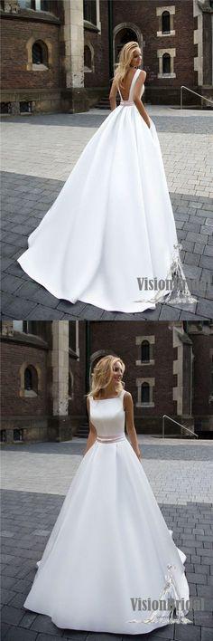 Charming Scoop Neckline Open Back A-Line Satin Floor Length Wedding Dress, Wedding Dress, VB0688 #weddingdress #simpleweddingdress