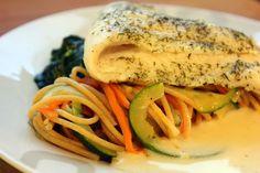 Gestoomde vis met groente-volkorenspaghetti