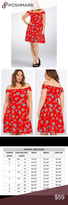 """Torrid Floral Textured Off Shoulder Dress  No way you're a late bloomer in this stunning skater dress; you'll set the trend! Textured fire engine red knit was already eye-catching by itself, but then we splashed a floral print all over it! Off the shoulder sleeves let your buds catch some rays.  Model is 5'9.5"""", size 1 Size 1 measures 41"""" from shoulderPolyester/spandexWash cold, dry flat ✔️Sold out Website✔️Bundle & Save✔️ Thanks torrid Dresses"""