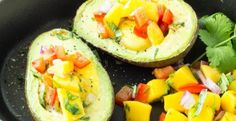 Baked Eggs in Avocado (with Mango Salsa)