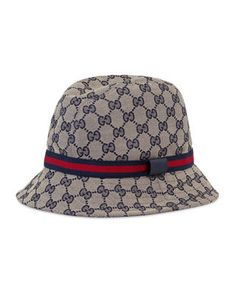 c78985e914e60 Gucci Kids  GG Supreme Canvas Bucket Hat w  Web Hat Band Kids Dress Clothes