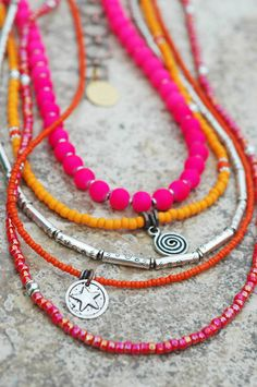 Custom Pink, Orange and Silver Long & Layered Necklace $195-$225Contact me if you are interested in this necklace. I can create so...