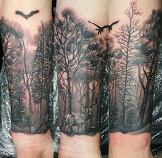 Tattoo, forest, deer, forearm