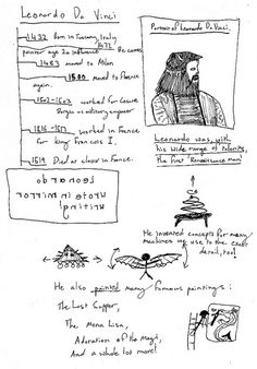 """se7en - Lots of lessons inspired by artist Leonardo Da Vinci.  Including:  3 books for younger children, 3 books for older children, a writing activity, carefully observing and drawing Da Vinci's work, chalk drawings of the human form (math/measurement), detailed drawings from nature (hands, flowers, plants, etc.), portraits in charcoal (inspired by Mona Lisa), 3D recycled art/sculpture (inspired by Da Vinci's inventions), and a """"Last Supper"""" with snacks and Renaissance music!"""