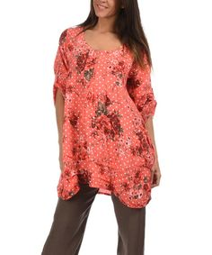 Another great find on #zulily! Coral & White Floral Linen Tunic #zulilyfinds
